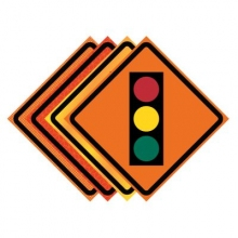 "36"" x 36"" Roll Up Traffic Sign - Traffic Signal Symbol"