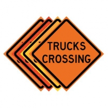 "36"" x 36"" Roll Up Traffic Sign - Trucks Crossing"