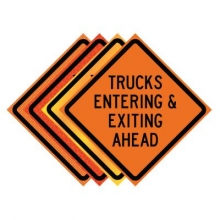 "36"" x 36"" Roll Up Traffic Sign - Trucks Entering & Exiting Ahead"