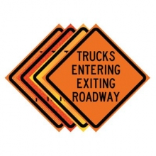 "36"" x 36"" Roll Up Traffic Sign - Trucks Entering Exiting Roadway"