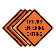 "36"" x 36"" Roll Up Traffic Sign - Trucks Entering Exiting"