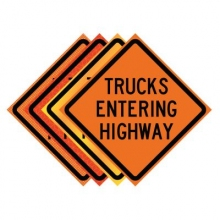 "36"" x 36"" Roll Up Traffic Sign - Trucks Entering Highway"