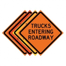 "36"" x 36"" Roll Up Traffic Sign - Trucks Entering Roadway"