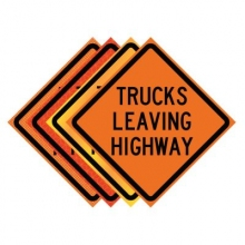 "36"" x 36"" Roll Up Traffic Sign - Trucks Leaving Highway"