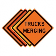 "36"" x 36"" Roll Up Traffic Sign - Trucks Merging"