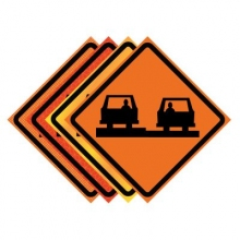 """36"""" x 36"""" Roll Up Traffic Sign - Uneven Pavement Symbol"""