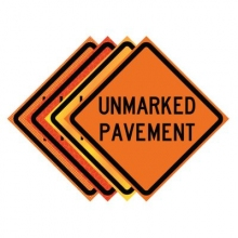 "36"" x 36"" Roll Up Traffic Sign - Unmarked Pavement"