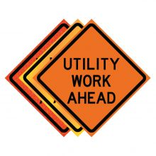 """Buy 36"""" x 36"""" Roll Up Traffic Sign - Utility Work Ahead on sale online"""