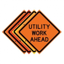 "48"" x 48"" Roll Up Traffic Sign - Utility Work Ahead"