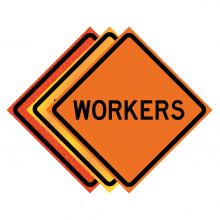 """Buy 36"""" x 36"""" Roll Up Traffic Sign - Workers on sale online"""