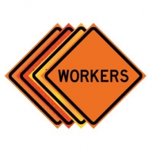 "48"" x 48"" Roll Up Traffic Sign - Workers"