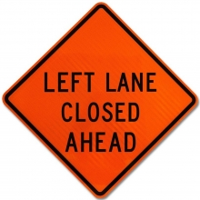 """48"""" x 48"""" Roll Up Traffic Sign - Left Lane Closed Ahead"""