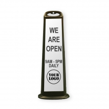 Black Vertical Panel w/Rubber Base - We Are Open