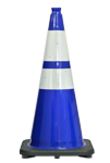 "28"" 7 LB. Blue Wide Body Traffic Cone w/ 6"" & 4"" 3M� Reflective Collar"