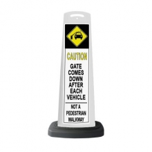 Valet White Vertical Panel Caution w/Reflective Sign P24