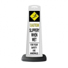 Valet White Vertical Panel Caution w/Reflective Sign P25