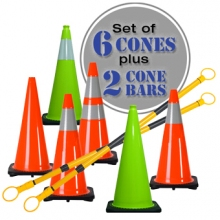 "28"" Lime Green or Orange Traffic Cones 6 Pack - Includes 2 Cone Bars"