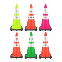 "28"" Traffic Cone with 6"" & 4"" Reflective Collars - Custom Logo"