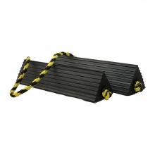 Medium Ribbed Aircraft Chocks Pair with Yellow and Black Rope Connector