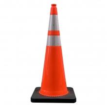 "36"" Orange Traffic Cone Black Base w/ 6"" & 4"" 3M Reflective Collar, 15 lbs"
