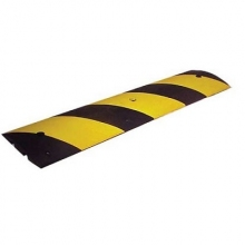 4' Black Rubber Speed Bump w/Yellow Reflective Stripes