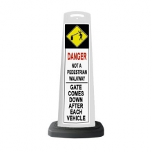 Valet White Vertical Panel Danger w/Reflective Sign P23