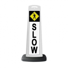 Valet White Vertical Panel Slow Pedestrian w/Reflective Sign P31