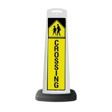 Valet White Vertical Panel Pedestrian Crossing w/Reflective Sign P46