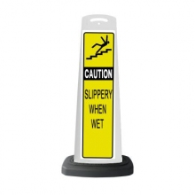 Valet White Vertical Panel Caution w/Reflective Sign P20