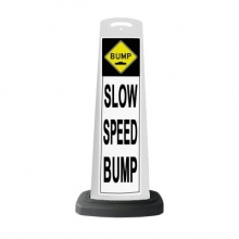 Valet White Vertical Panel Slow Speed Bump w/Reflective Sign P26