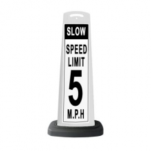 Valet White Vertical Panel Speed Limit/Slow w/Reflective Sign P42