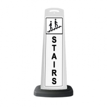 Valet White Vertical Panel Stairs w/Reflective Sign P36