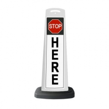 Valet White Vertical Panel Stop Here w/Reflective Sign P10