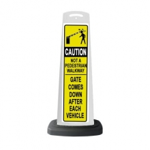 Valet White Vertical Panel Caution w/Reflective Sign P22