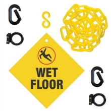 Wet Floor Sign & Magnet Ring Carabiner Kit w/Plastic Chain