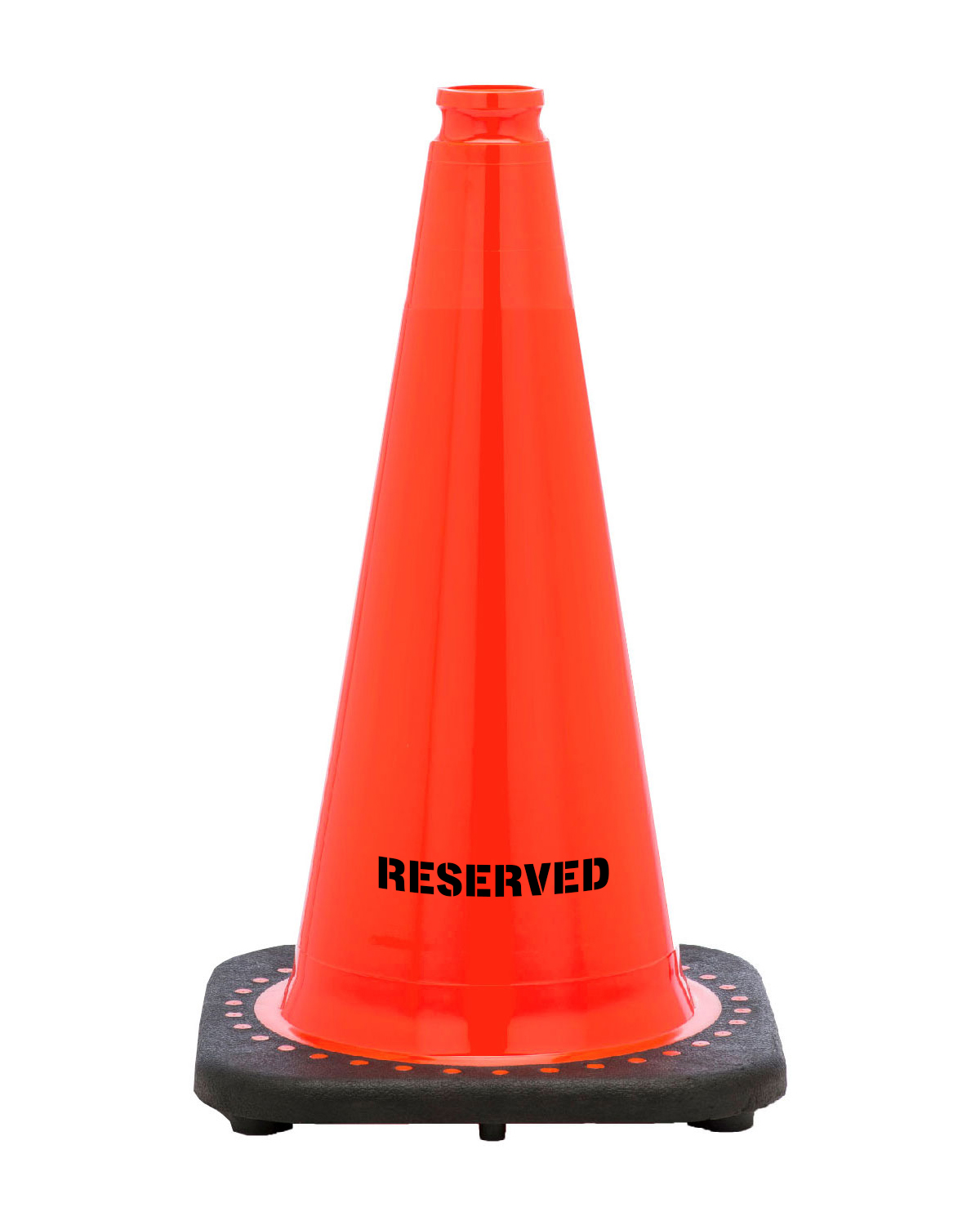 """Reserved 18"""" Traffic Cone Black Base, 3 lbs"""