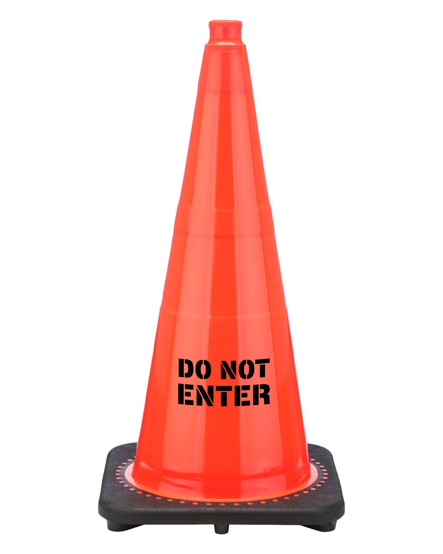 "Do Not Enter 28"" Traffic Cone Black Base, 7 lbs"