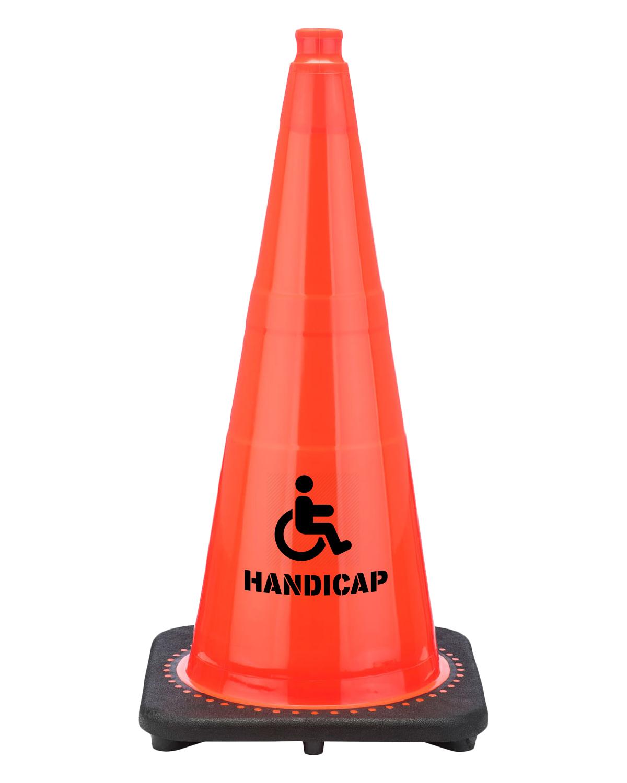 "Handicap 28"" Traffic Cone Black Base, 7 lbs"