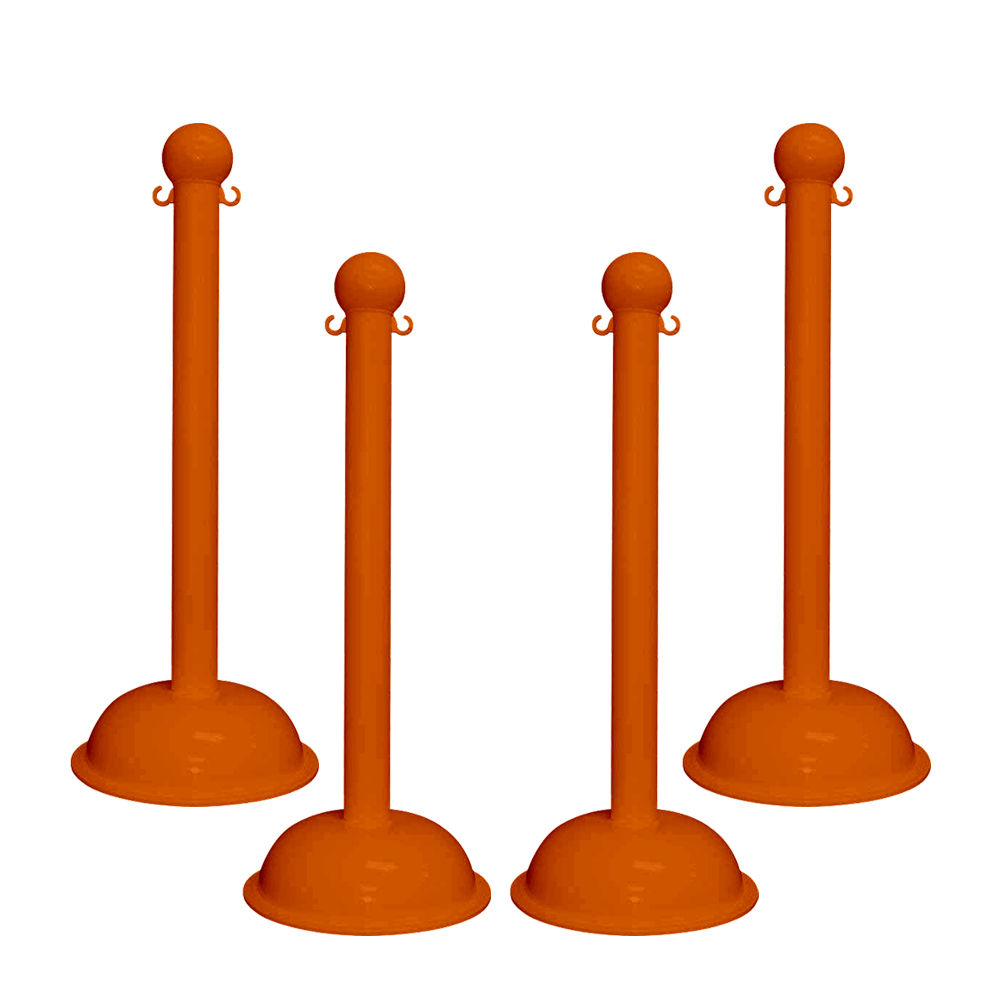 """Traffic Control Heavy Duty 41"""" Plastic Stanchion Post (Pack of 4)"""