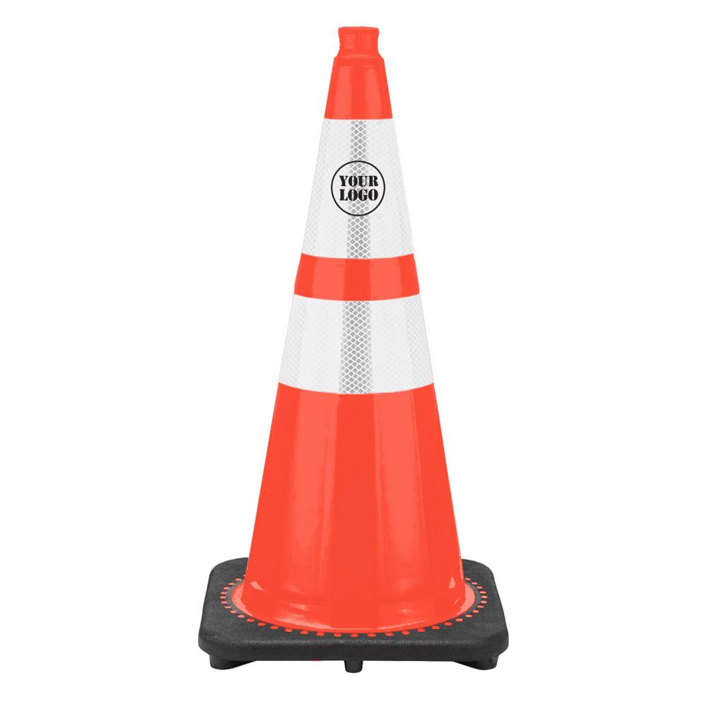 "28"" Traffic Cone with 6"" & 4"" Reflective Collars - Custom Logo"