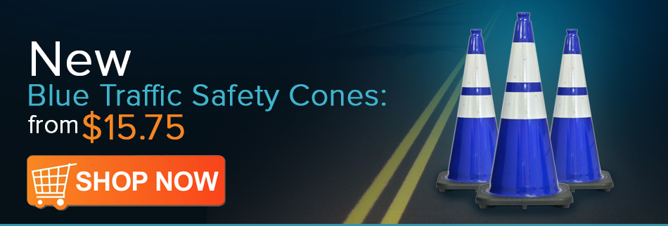 Blue Safety Traffic Cones